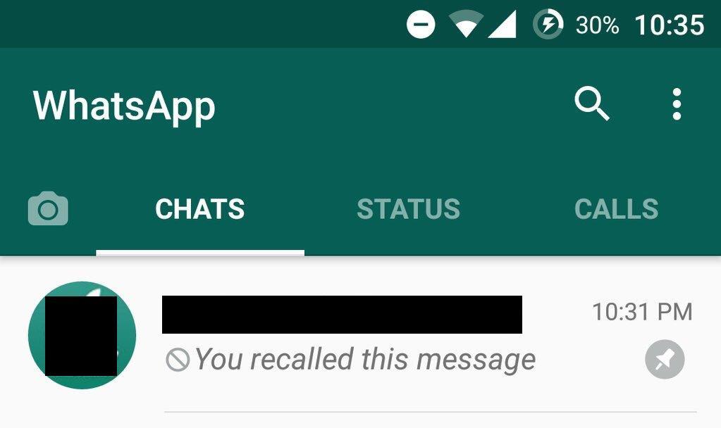WhatsApp Recall Message